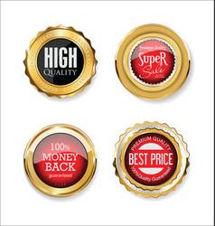 collection golden badges labels laurels vector image