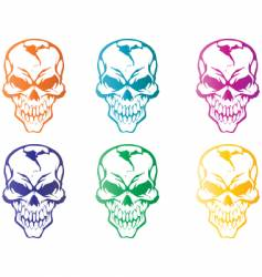 colorful skulls vector image