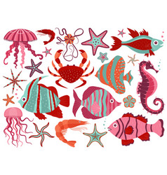 coral reef underwater animals set vector image