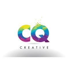 cq c q colorful letter origami triangles design vector image