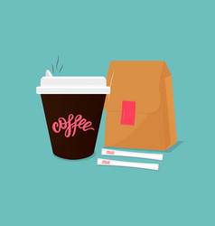cup hot coffee paper bag sugar on blue background vector image