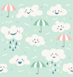 Cute baby cloud pattern seamless vector