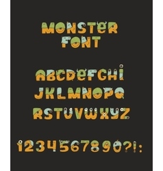 Cute colorful kind monster font Every vector