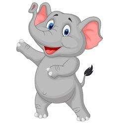 Cute elephant cartoon presenting vector