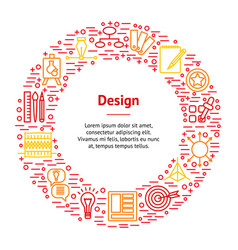 design thinking banner card circle vector image