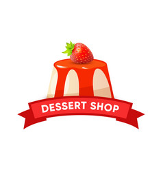 Dessert shop logo cheesecake with ribbon vector