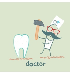 Doctor hammers on the tooth vector