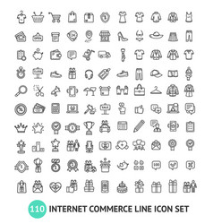 E-commerce shopping signs black thin line icon set vector