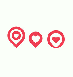Favourite places icon set liked places pin vector