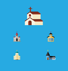 Flat icon building set of catholic traditional vector