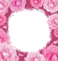 frame roses on a pink background vector image