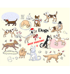 Funny dogs sketches set vector