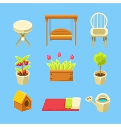 Garden objects set vector