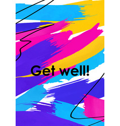 get well message abstract postcard template vector image