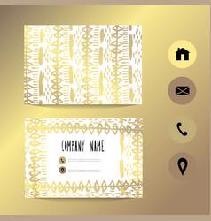 Golden business card template vector