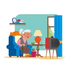 Grandmother sitting in vector