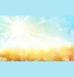 green blue autumn background with sun shine vector image