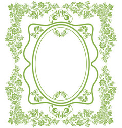 Green eco russian floral frame background vector