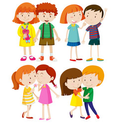 group of children on white background vector image