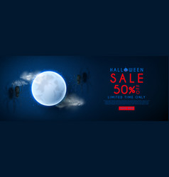 halloween sale web banner vector image