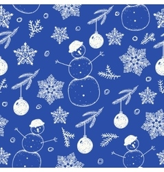 Hand drawn seamless Christmas pattern vector