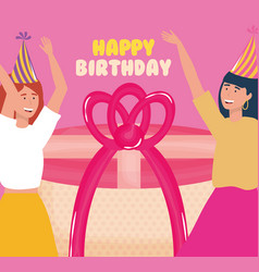 happy birthday women with gift and party hat vector image