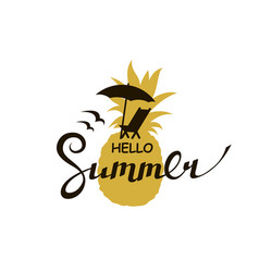 Hello summer lettering with beach vector