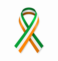 irish flag stripe ribbon on white background vector image