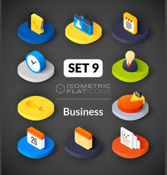 Isometric flat icons set 9 vector