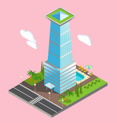 Isometric futuristic sky scraper background vector