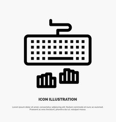 Keyboard interface type typing line icon vector