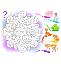 logic puzzle game for children for study english vector image