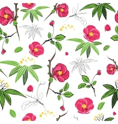 Magenta Green Kimono Flowers Seamless vector