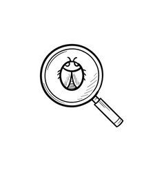 Magnifying glass over bug hand drawn outline vector