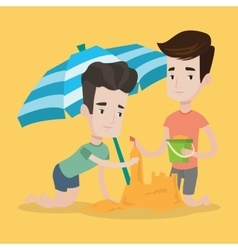 Male friends building sandcastle on beach vector image