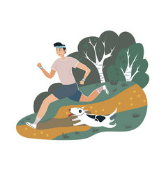 Male runner sportsman walking dog on outdoor park vector