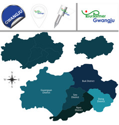 map of gwangju with districts south korea vector image
