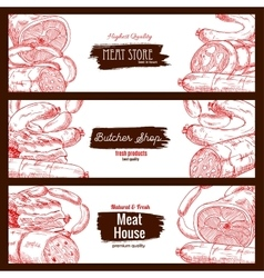 Meat butchery products sausages banners sketch vector