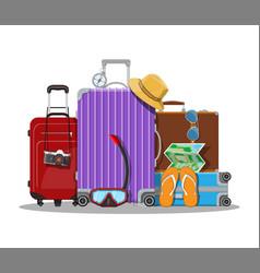 Modern and vintage travel bag vector