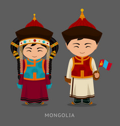 Mongols in national dress with a flag vector
