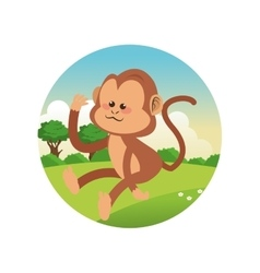 monkey cartoon colorful design vector image