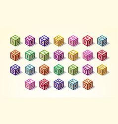 Multicolored alphabet or abc kid blocks latin vector