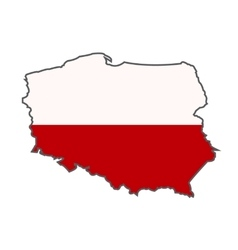 National Flag of Poland with map vector