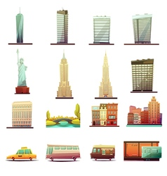New York Transportation Landscape Icons Set vector
