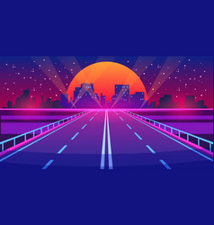 night city road futuristic highway with neon vector image