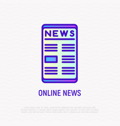 online news on smartphone thin line icon vector image