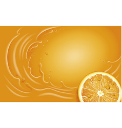 orange juice slice and orange splash vector image