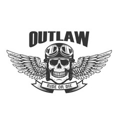 Outlaw ghetto warrior skull with wings and brass vector