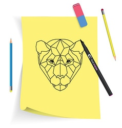 Polygonal head of tiger on yellow sticky note with vector image