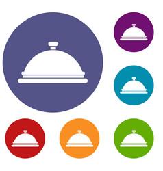 restaurant cloche icons set vector image